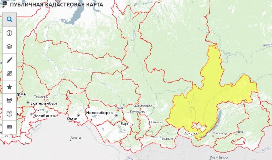Публичная кадастровая карта - Иркутская область