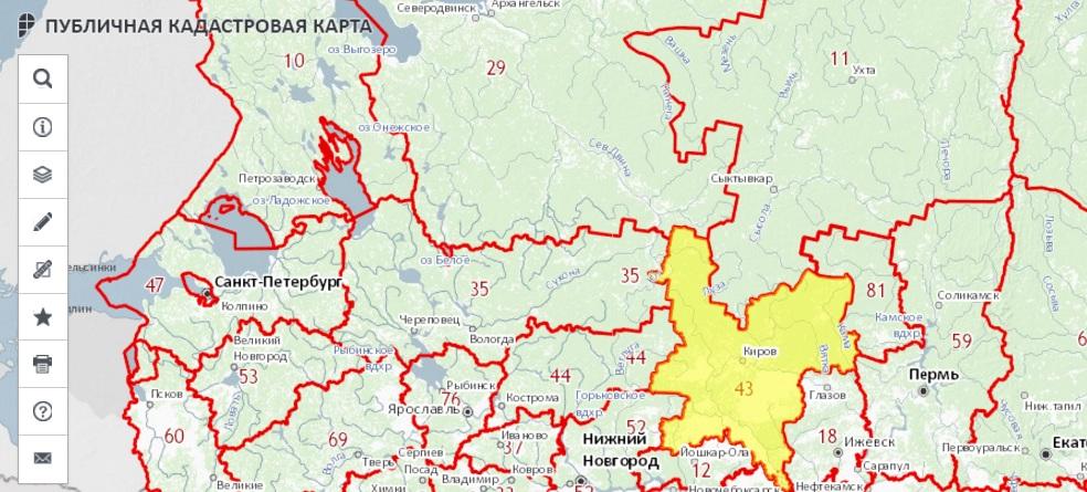 Публичная кадастровая карта - Кировской области