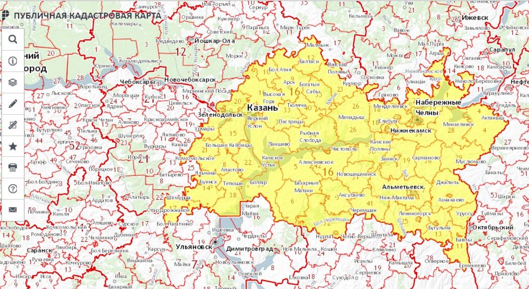 Публичная кадастровая карта - Республика Татарстан