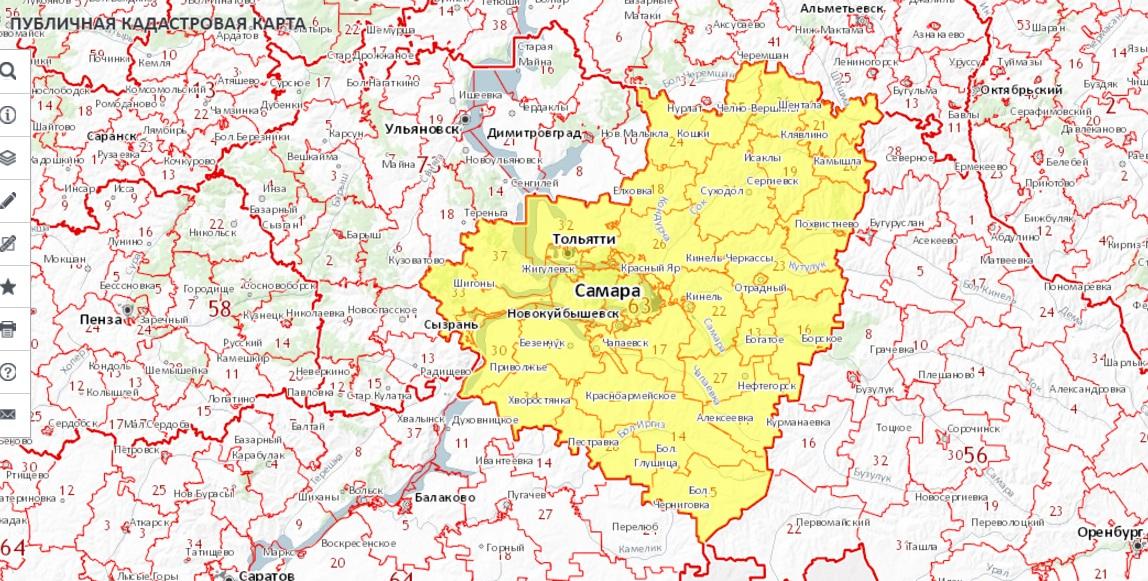 Публичная кадастровая карта - Самарская область