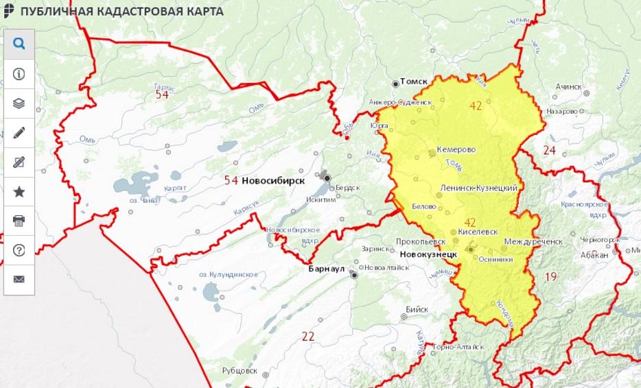 Публичная кадастровая карта - Кемеровская область