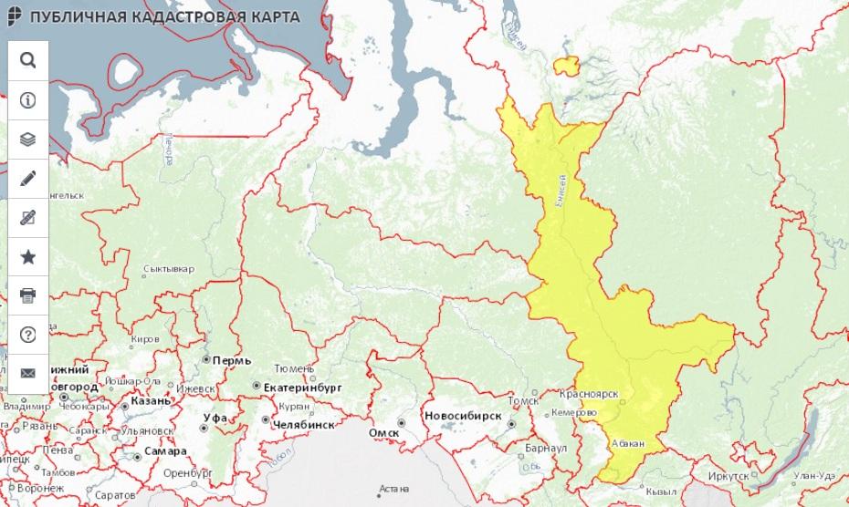 Публичная кадастровая карта - Красноярский край