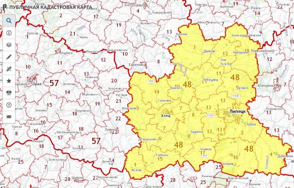 Публичная кадастровая карта - Липецкая область