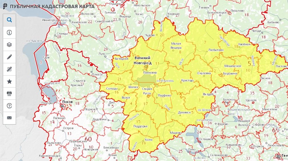 Публичная кадастровая карта - Новгородская область