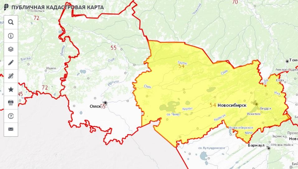 Публичная кадастровая карта - Новосибирская область