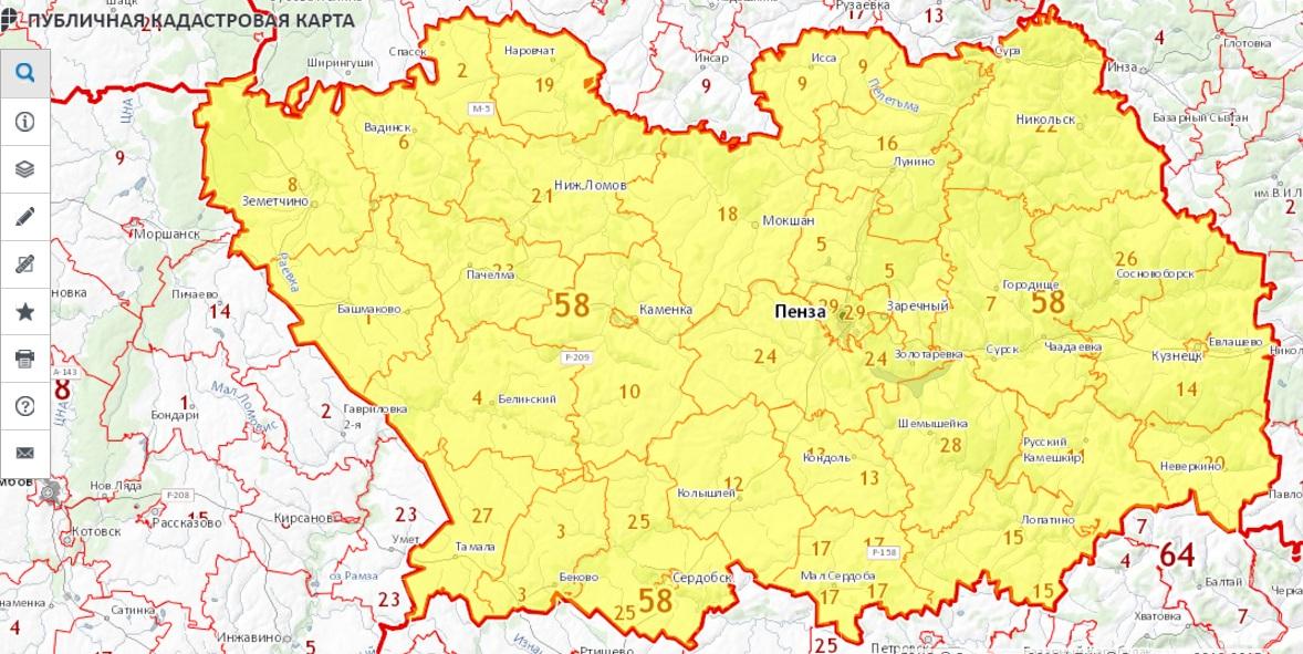Публичная кадастровая карта - Пензенская область