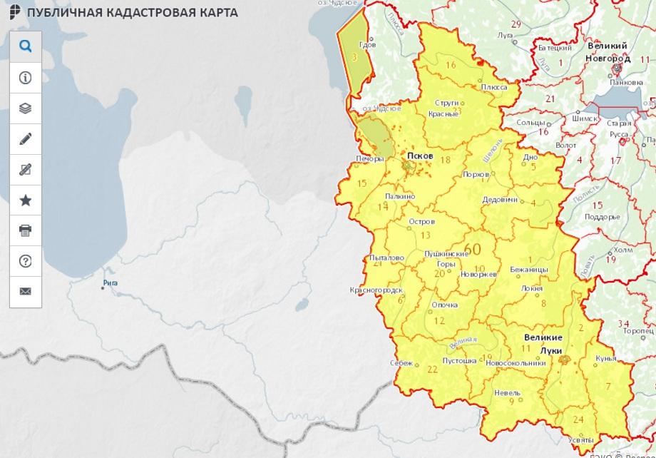 Публичная кадастровая карта - Псковская область
