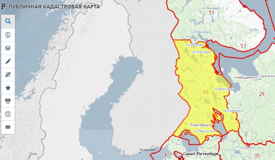 Публичная кадастровая карта - Республика Карелия