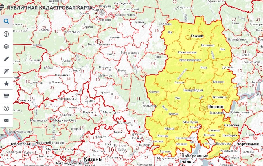 Публичная кадастровая карта - Удмуртской Республики
