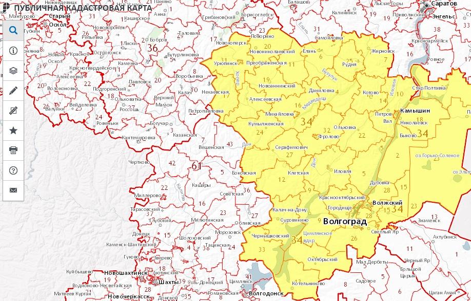 Публичная кадастровая карта - Волгоградская область