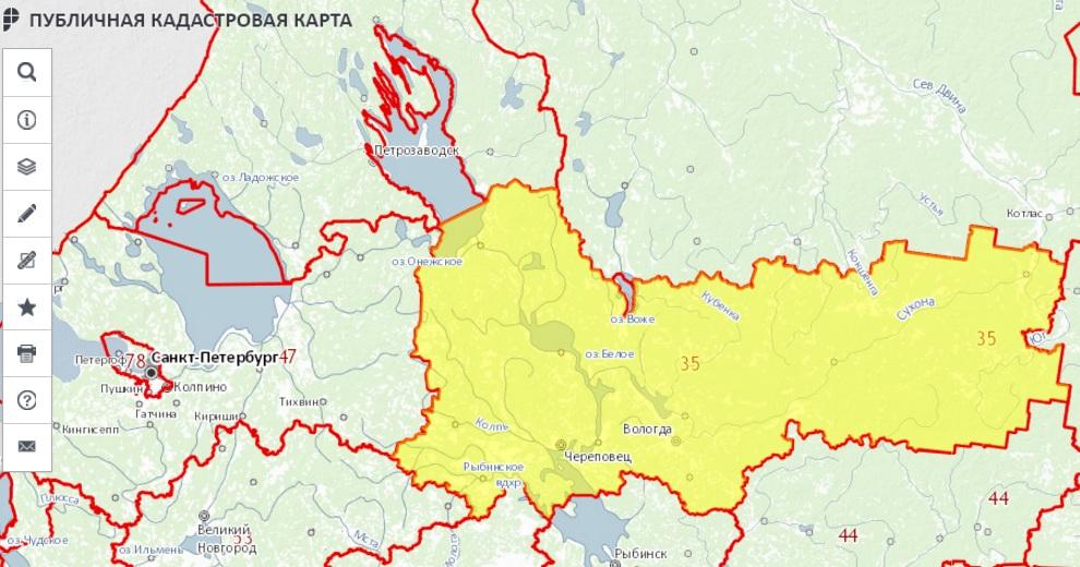 Публичная кадастровая карта - Вологодская область